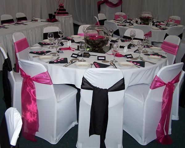 Pink, Black and White Wedding Table Decorations and Chair Sashes