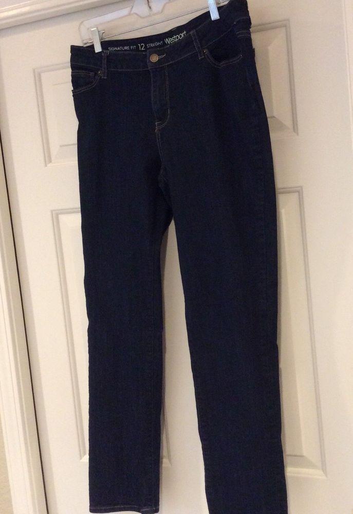 24ded70000 Westport Dress Barn Stretch Jeans Womens SZ 12 Straight Leg Signature Fit  Indigo  Westport