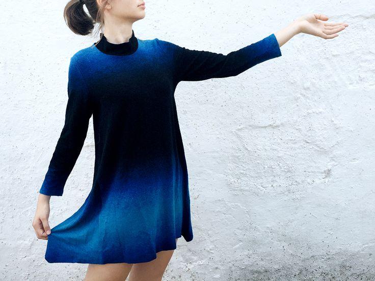 Vestido corto Degradé en color azul. <3 <3