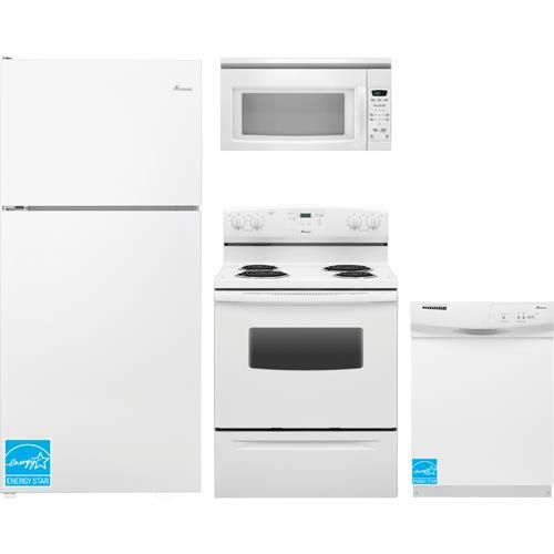 """Amana - White Complete Kitchen Package - ON SALE: 30"""" Amana refrigerator gives you easy access to all your favorites with Flip-up Storage, Gallon Door Storage and Humidity-Controlled Crispers. 30"""" electric range with a precision heating system. Built-in dishwasher with a Triple Filter wash system. An over-the-range microwave with a vent fan for your range. All 4 appliances for $1199!  #home #upgrade #kitchen #cooking #food #appliance #refrigerator #microwave #dishwasher #oven #sale #deals"""