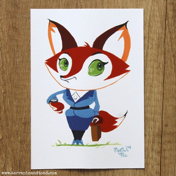 Fox business woman postcard by #TerrapinandToad. A fun, brightly coloured cartoon fox postcard. Perfect for your boss' birthday or to congratulate your friend on a new job.