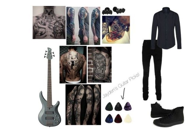 """""""Jayden (Bassist)"""" by budlebug ❤ liked on Polyvore featuring Yamaha, Converse, AMIRI, Armani Jeans, Cufflinks, Inc., men's fashion and menswear"""