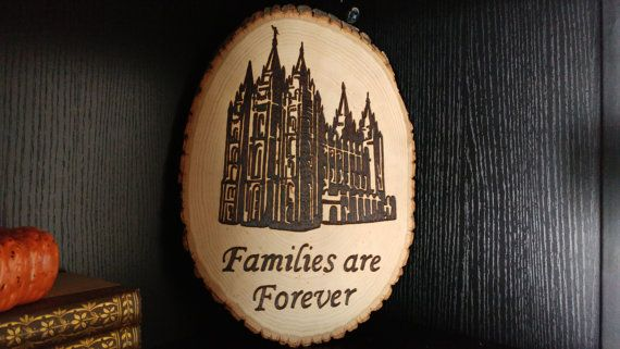 Families are Forever Salt Lake Temple Woodburned by WordyWoodworks