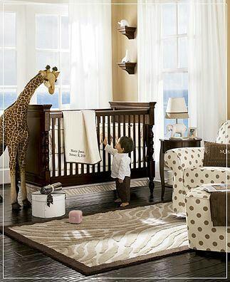 Nursery idea...love the dark wood