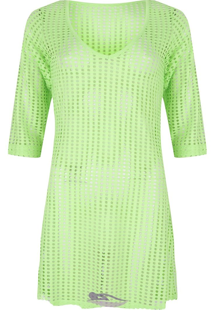 Pastunette Beach lawngreen hollow mesh beach cover -up - Ideal for holidays & fun in the sun!