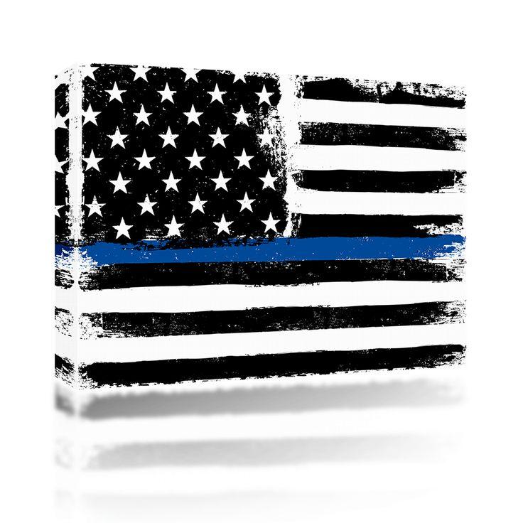 Police Flag Blue Line Grunge