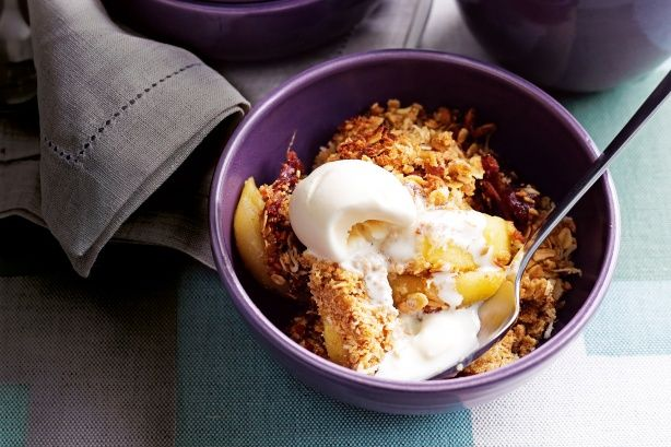 Winter is the season for comforting desserts, so gather seasonal fruit to create this tempting apple and date crumble.