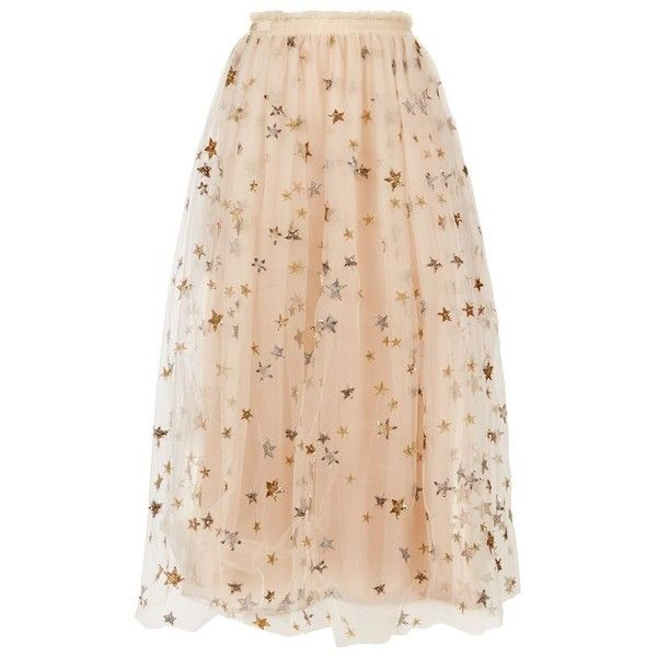 Valentino Star-Embroidered Tulle Midi Skirt ($8,560) ❤ liked on Polyvore featuring skirts, sequin skirt, knee length pleated skirt, knee length tulle skirt, embroidered skirt and mid calf skirts