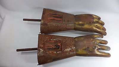 "Two Vintage Industrial Cast Metal Glove Molds Steampunk 20"" Brass Factory Tool"