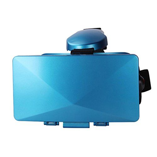 Compia VR Box 3D Headset Virtual Reality Glasses Best for 3D Movies Virtual Reality And Games Focus And Adjustable Headband for 3557 Inch Smartphone blue * Want to know more, click on the image.