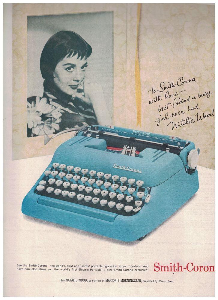 Natalie Wood in 1958 Smith Corona Typewriter Ad #SmithCoronaTypewriter