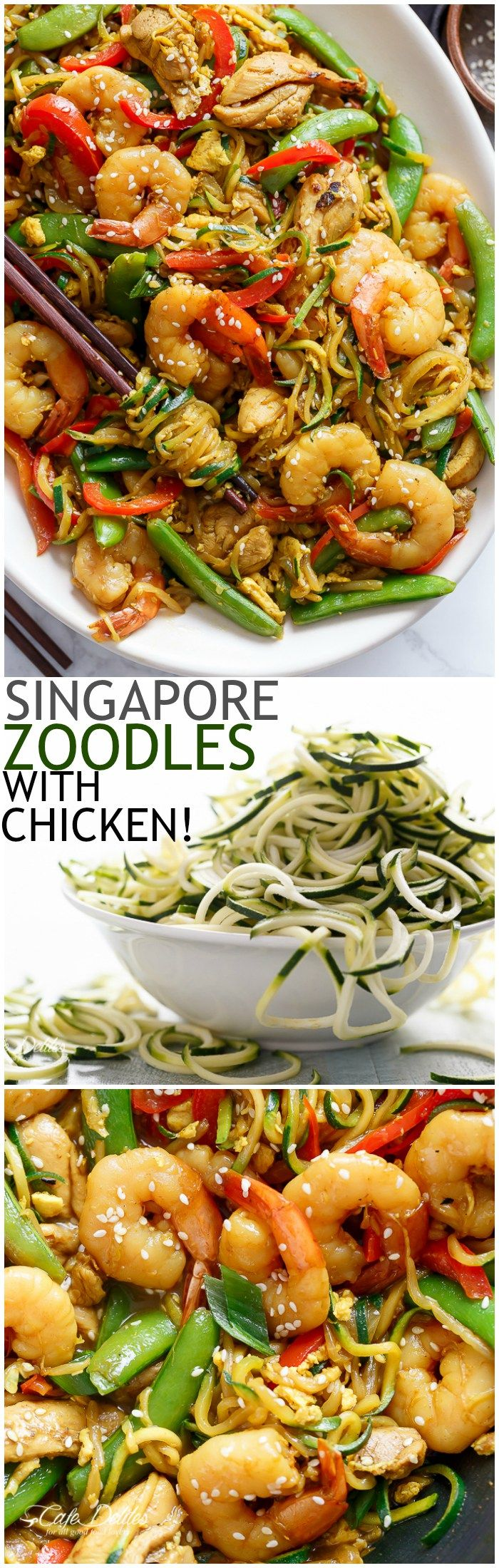 A twist on the classic Singapore Noodles -- same classic flavours only low carb and low calories with Zoodles!   http://cafedelites.com