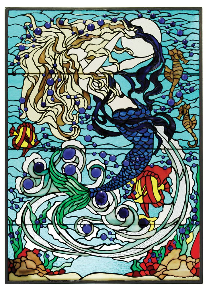 Glass jewel bubbles and rippling Aqua waters surround a enchanting Mermaid in this Meyda Tiffany designer original window. Her hair swirls against the lunar reflection as she plays with her deep sea c