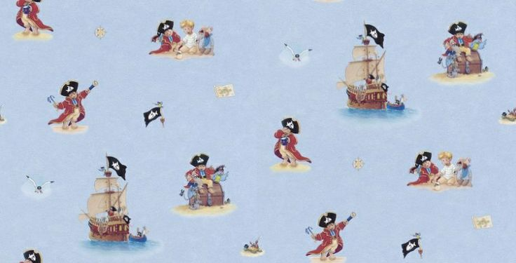 Captain Sharky (797503) - Albany Wallpapers - A fun Villa Coppenrath kids wallcovering with drawn pirate scenes, treasure chests and pirate ships. Showing on a blue background. Co-ordinating plains and border available. Please request a sample for true colour match. Paste-the-wall product.