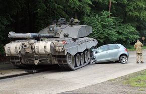 Learner driver goes out for a spin and gets flattened by a tank