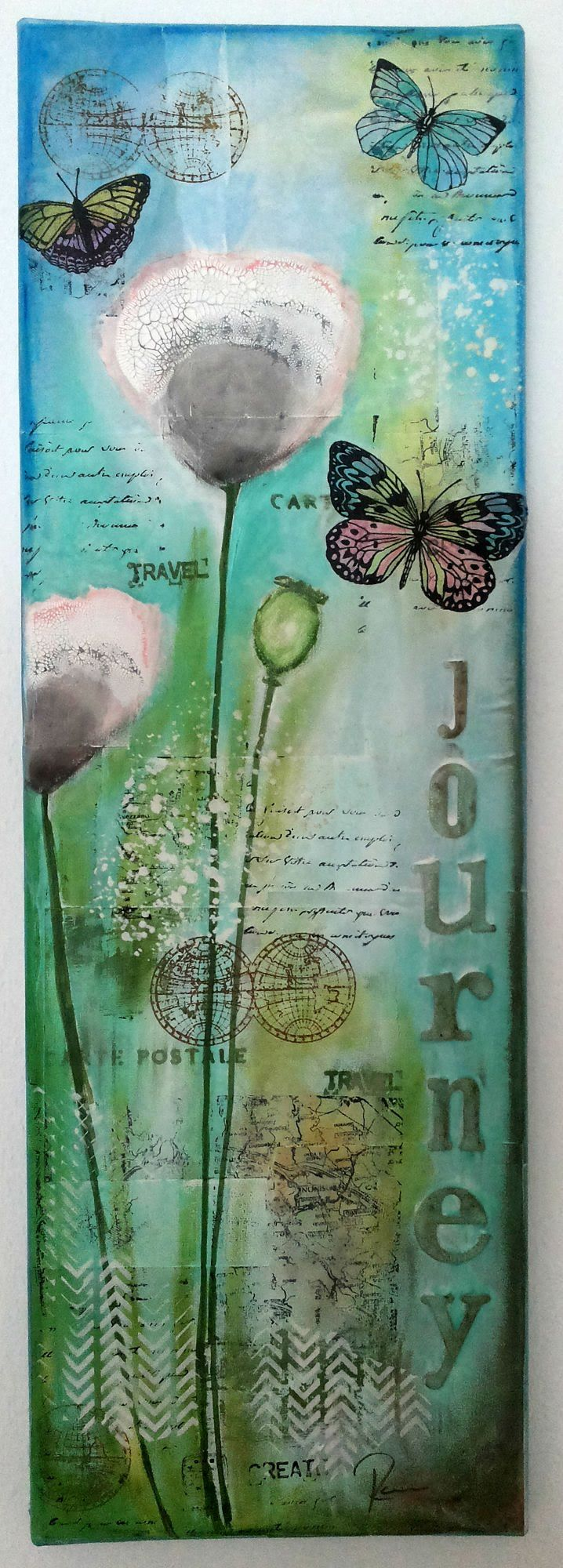 Mixed Media Canvas Tutorial using acrylic paints, Gelatos®, stamps (from Rubber Dance) and stencils, Distress Crackle Paint and pattern paper.