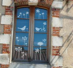 Frühling, Sommer Fensterbild Blüten und Vögel
