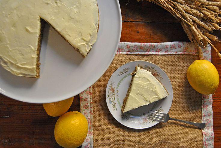 Pastel de té verde con menta y crema de limón | Canela y Naranja