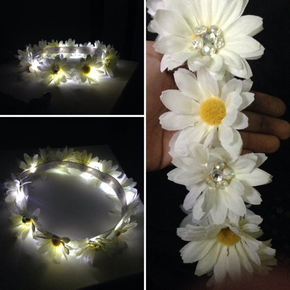 LED Flower Crown | With MEDIUM flowers all the way around  | Light Up Headband for edm EDC raves / music festivals on Etsy, $24.00