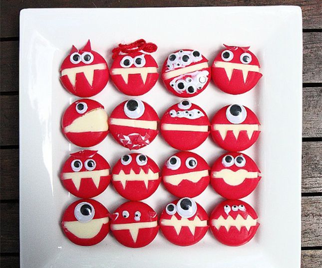 Turn Babybel into cheese monsters for the little ones.