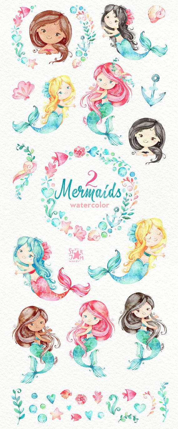 This set of Mermaids watercolor part 2 is just what you needed for the perfect invitations, craft projects, paper products, party decorations, printable, greetings cards, posters, stationery, scrapbooking, stickers, t-shirts, baby clothes, web designs and much more. :::::: DETAILS :::::: This collection includes: - 36 Images in separate PNG files, transparent background, size approx.: 12-2in (3600-600px) 300 dpi RGB Another set with Mermaids: https://www.etsy.com/shop/...