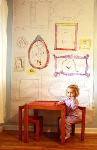 Make easy DIY frame wallpaper for children's art...