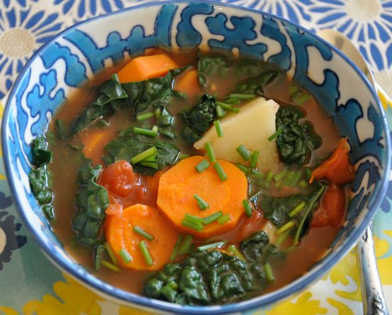 This soup was developed primarily to relieve acid reflux. Kale and bitters reduce stagnation in the digestive tract and clear heat. Carrot and vegetables with beta-carotene reduce Pitta. Fennel improves digestion without increasing Pitta. Fresh ginger is an anti-inflammatory that improves digestion as well. Lime reduces acidity in the stomach. Soups in general are easy to digest, an essential...