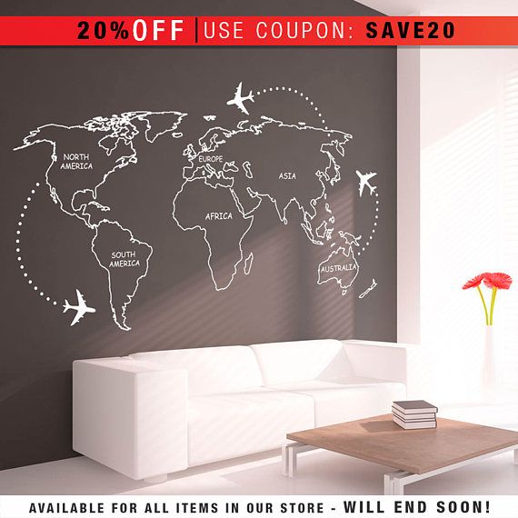 Best 25 world map continents ideas on pinterest world map with world map outlines wall decal continents decal large world map vinyl sciox Gallery