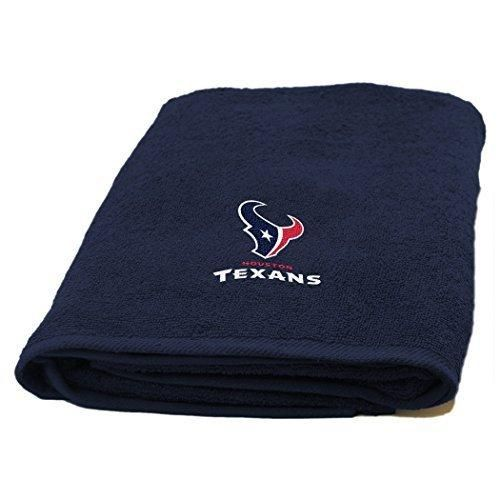 NFL Texans Applique Bath Towel 25 X 50 Football Themed Towel Sports Patterned Team Logo Fan Merchandise Athletic Team Spirit Deep Blue Battle Red White Cotton