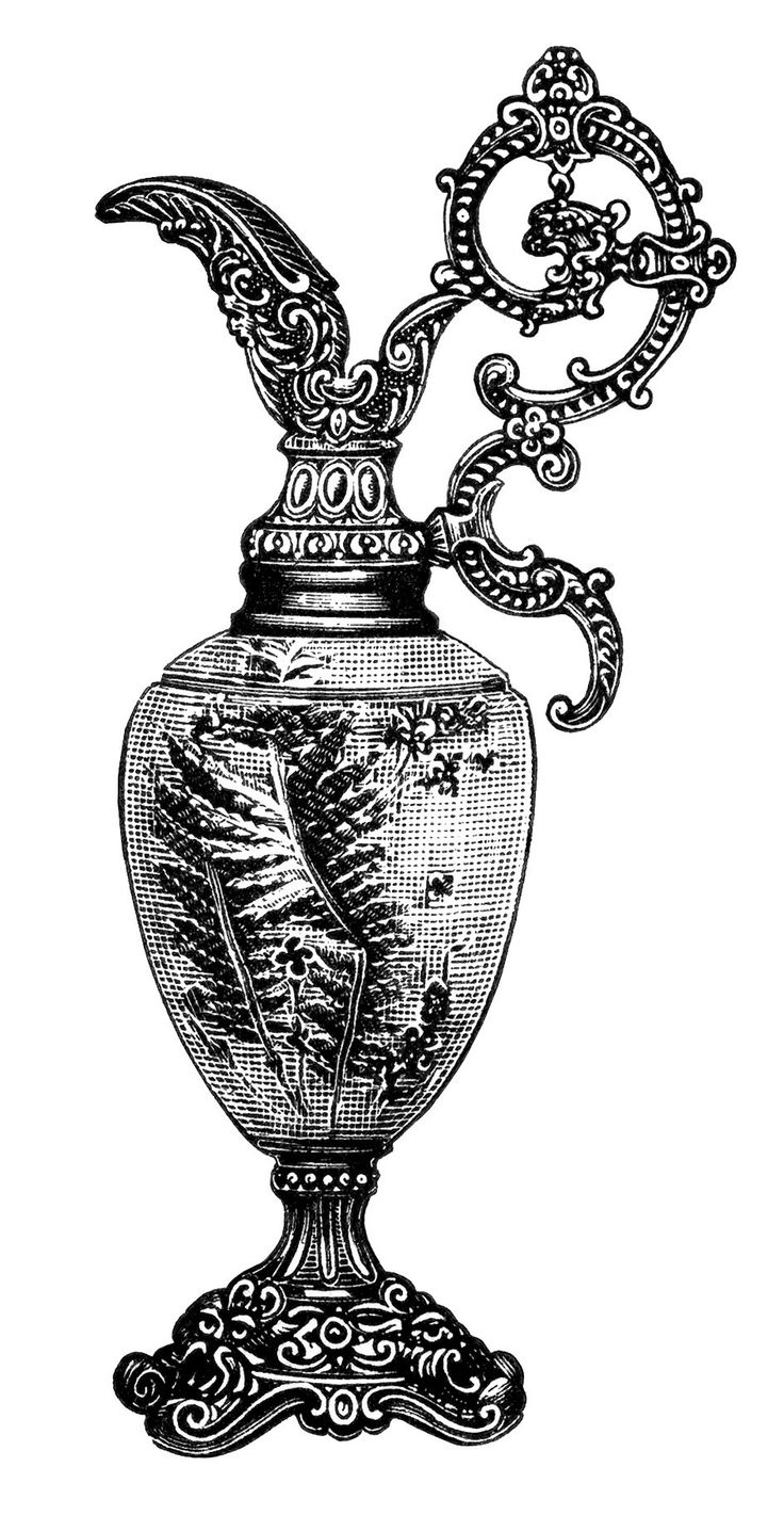 Black And White Clip Art  Elegant Vintage Vase Clipart  Old Fashioned Mantel Ornament  Antique