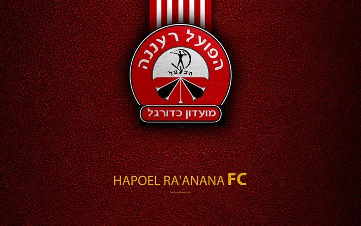 Download wallpapers Hapoel Raanana FC, 4k, football, logo, emblem, leather texture, Israeli football club, Ligat HaAl, Raanana, Israel, Israeli Premier League