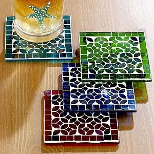 Image result for mosaic coasters without grout