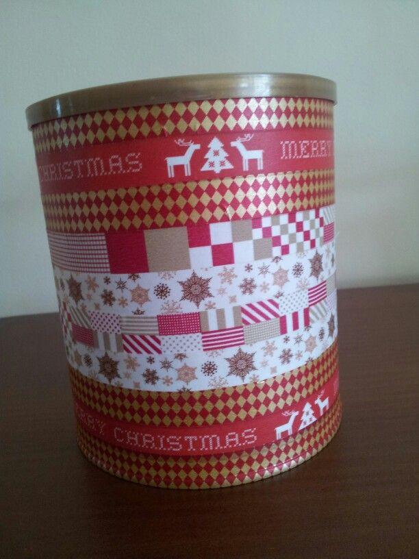 Lata de leche para bebes decorada con washi tape de - Decoracion con washi tape ...