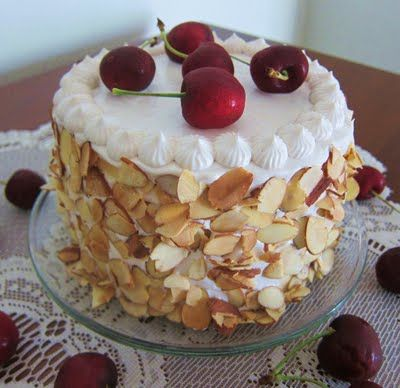 Vanilla Cake: Cherry Almond Cake. i don't know why. i have cherries ...