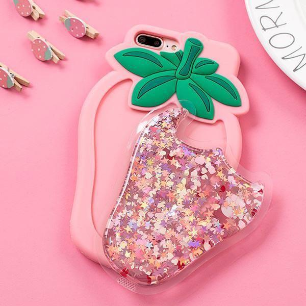 Strawberry Waterfall glitter liquid IPhone Case