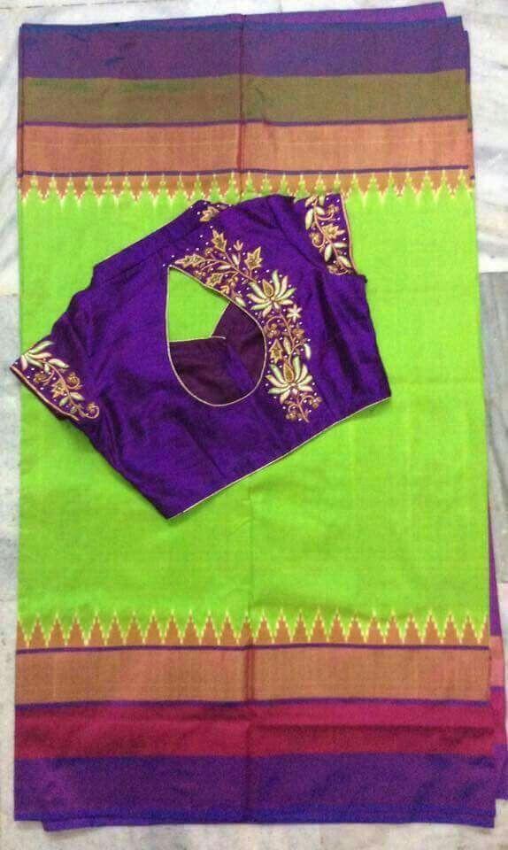 parrot green saree with purple designer blouse