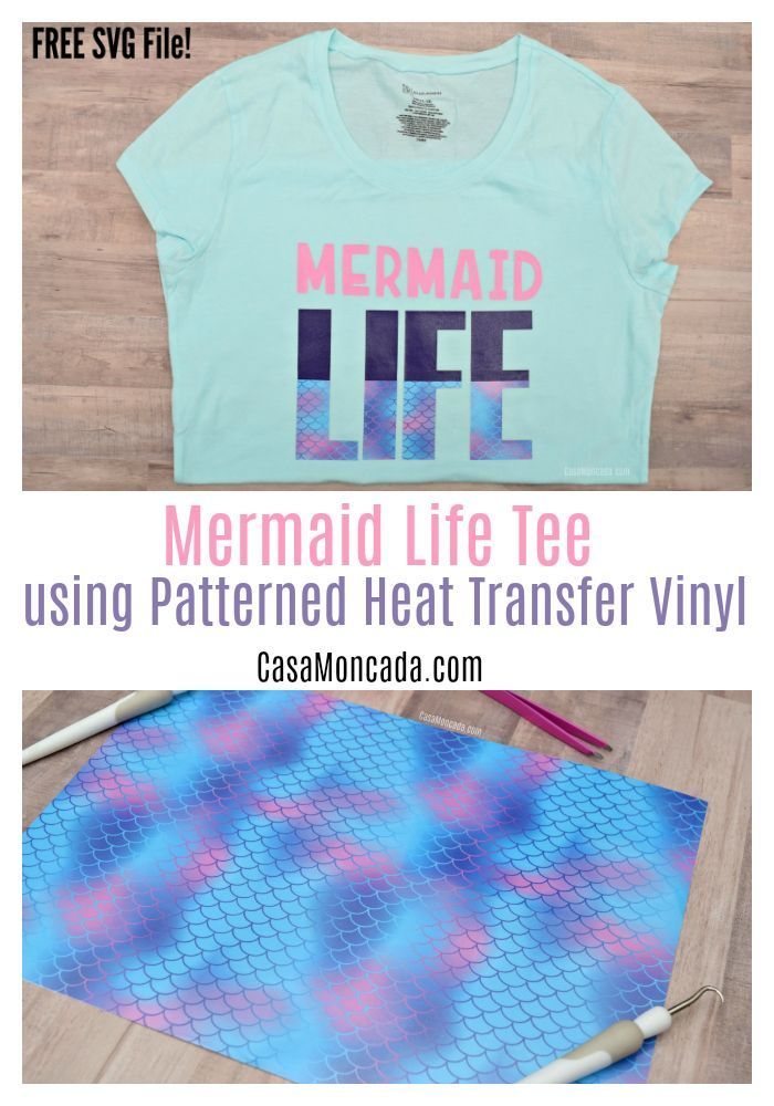 Mermaid Life Tee Using Patterned Heat Transfer Vinyl Patterned