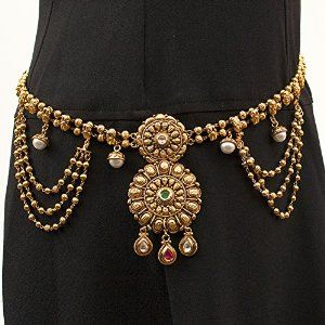 Indian Bollywood Ethnic Gold Plated Kamarband Waist Belt with Pearls Bridal Jewelry $50 Click link below for discount