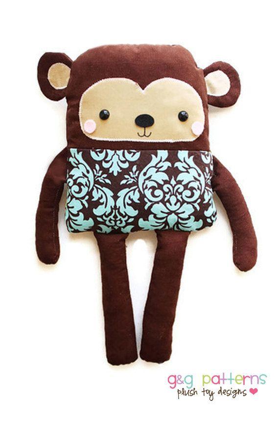 Monkey Doll PDF Sewing Pattern Easy Toy Monkey by GandGPatterns