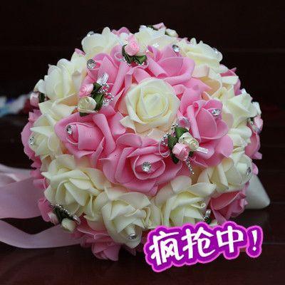 100pc \ lot Main Décoration Mousse Rose Artificielle Fleur Multicolore De Noce Fleurs Bouquet Accueil Scrapbook Événement Fournitures