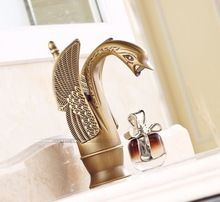 benzersiz tasarım kuğu şeklinde tek kolu banyo lavabo lavabo musluk antika pirinç bitmiş sıcak ve soğuk su(China (Mainland))