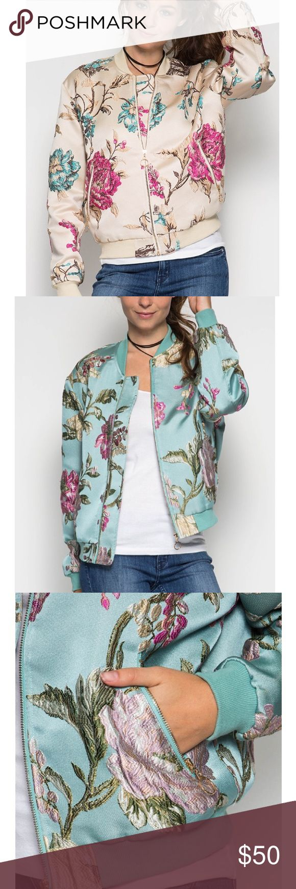 Floral Bomber Jacket 😍✨ Comment closet name to be notified when in stock. LONG SLEEVE JACQUARD FLORAL BOMBER JACKET  S:60%COTTON 40%POLYESTER C:100%POLYESTER L:100%POLYESTER WOVEN JACKET  *MODEL IS 5`11 Jackets & Coats