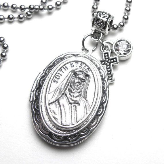 St. Edith Stein Catholic Holy Medal Locket by 12StarsJewelry