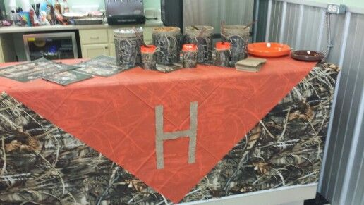 Camo baby shower decorations. H is for our last name
