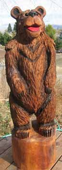 """LINE 741 48"""" CARVED WOODEN BEAR STATUE"""