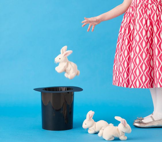 Girl tossing stuffed rabbit into a magician's hat...game idea?    Also duplicate the hide the puppy game with a hide the rabbit game!