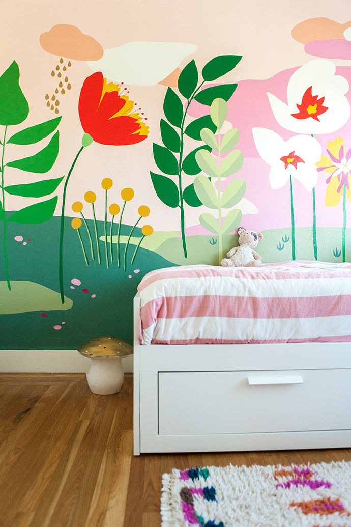 Painted floral wall mural