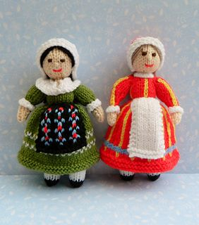This is Adeline & Bettina - Folk Dolls - France & Denmark. They are knitted folk dolls and are 20cms tall. This pattern is worked flat & would suit beginners. http://www.ravelry.com/patterns/library/adeline--bettina---folk-dolls---france--denmark
