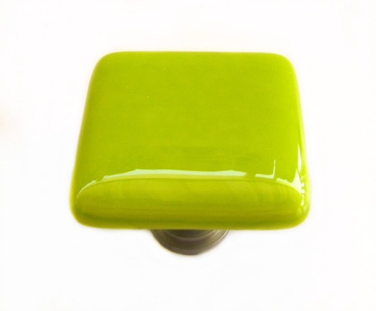 Lime green glass cabinet knob l kitchen bathroom hardware for Lime green kitchenware