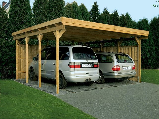 car port with 2 covered side - great idea for blowing snow